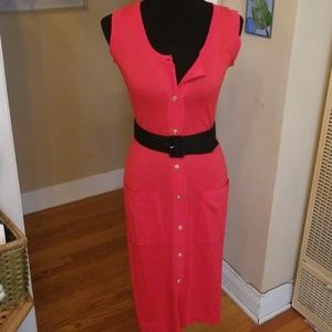 VTG Gorg Fire Red Buttondown Pocket Midi Dress